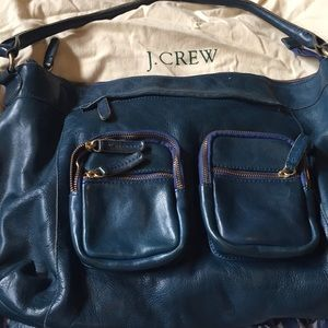 Aged leather teal blue bag